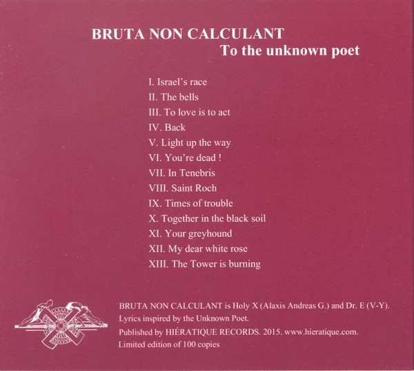 Bruta Non Calculant – To The Unknown Poet CD (Lim100)